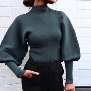 Ladies New Sweaters Womens Fashion Lantern Sleeve Solid Color Knitted Pullover Sweaters Casual Autumn Winter Clothing Tops