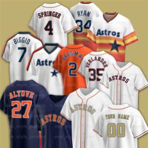 27 José Altuve 4 George Springer Astros Jersey 1 Carlos Correa 7 Craig BigGio 34 Nolan Ryan 2 Alex Bregman Personalizado Baseball Jerseys