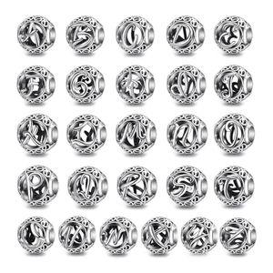 EUDORA 2020 Yeni 925 Gümüş Vintage A'dan Z'ye Alfabe Harf Beads Charm Fit Orjinal Gümüş 925 Bilezik DIY Takı Z118
