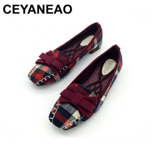 CEYANEAO England Style Gingham Women Casual Loafers Spring Autumn Bowtie Slip On Flats For Woman Ladies Single Shoes 201109