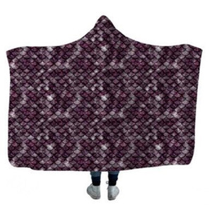 Blanket Kids Mermaid Fish Scale Printed Hooded Winter Warm Add Wool Thickened Blankets DHF1195