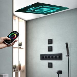 매트 블랙 완비 된 욕실 60x80cm 뮤직 샤워 꼭지 세트 멀티 기능 온도 조절 고 유량 믹서 밸브를 눌러 설정 LED 원격 조명