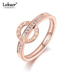 Anelli di nozze Lokaer Lokaer Trendy Titanio in acciaio inox Numeri romani per le donne Ragazze Mosaico CZ Crystal Love Anello gioielli R190751