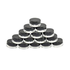 5G 5 ML alta calidad claro vacío Envase Tarro Crisol Con Negro tapas para el polvo de maquillaje, crema, loción, bálsamo de labios / brillo, muestras cosméticas DWB1448