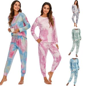 Ladies Tie-dye Home Sets Fashion Trend Long Sleeve Loose Tops Drawstring Pants Tracksuits Designer Female Autumn New Casual 2pcs Suits