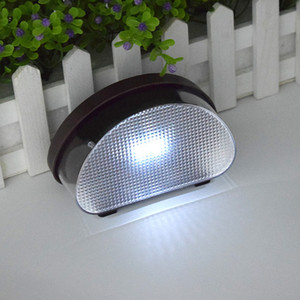 Aggiornato 2LED recinto solare luce bianca IP65 della luce della parete del sensore solare impermeabile Lamp Fixture esterna, Bianco