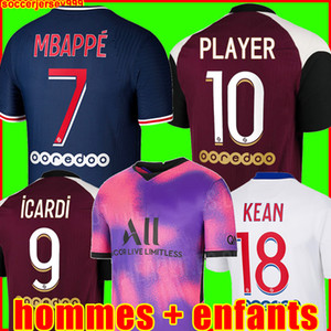 PSG ICARDI 20 21 soccer jersey Fußball Trikots 2021 2020 Paris Saint Germain Trikot NEYMAR JR MBAPPE Trikot Survêtement Fußball Kit Fußball Shirt Frauen vierte 4.