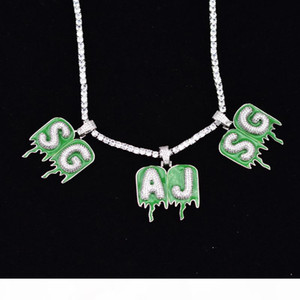 "A-Z Custom Name Green Epoxy Bubble Drop Letter Chain Necklaces & Pendant Zircon Men's Hip Hop Jewelry with 18"" 20mm Width Cuban Li"