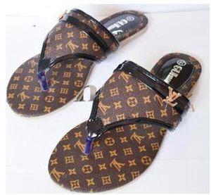 VuittonШарфЛуисЖенская мода Sandsals 2019 лето Brand New Женщины Слайды плоские пятки Женщина Цветочные тапочки пляж FRE г