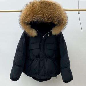 Огромный природного Енот Fox Fur Hooded зима вниз пальто Женщина Водонепроницаемая белого утка вниз куртка Puffer Женского перо ветровка 201028