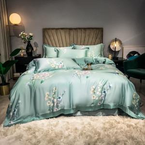 Light Green,Pink Floral Blossom Duvet Cover set Ultra Soft Tencel Summer Bedding set Flat sheet Pillowcases Queen King size 4pcs 201104