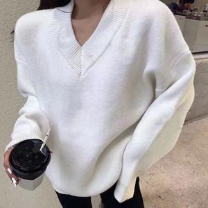 L'ultimo stile di moda in autunno / inverno 2020 è maglione pullover con scollo a V, maglione allentato e comodo per le donne, priva di spese di spedizione S / XL