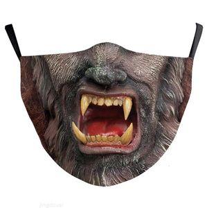 Masque Design Halloween Partie d'impression Cosplay Masques de visage lavables Joker Masque Halloween Protection Vampire Coton Sports de plein air Mza