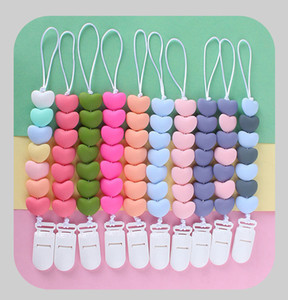 10 ألوان الحب سيليكون شكل قلب هوة سلسلة كليب الطفل مضحك الخرزة حامل كليب حامل اللقب سلسلة المهديء للأغذية أطفال M2553
