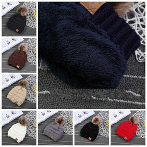 Kids CC Trendy Hats Kids Knitted Fur Poms Beanie Winter Luxury Cable Slouchy Skull Caps Fashion Beanie Big Kids Hats 60pcs