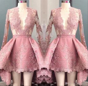 Hi Lo Pink Long Sleeves Appliques Homecoming Cocktail Dress 2021 Deep V-Neck Elegant 8th Grade Prom Party Dresses