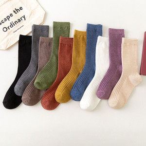 Autumn and winter women's mid tube socks four seasons pure cotton stockings fashion solid color casual comfortable socks children socks