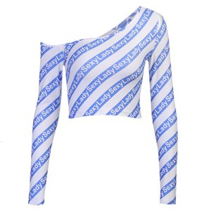 28374P Sexy Slant Schulter T-Shirt Frauen Schulterschulter Brief Langarm Short Top Roman Tight Sexy Street Style Designer Fliegen