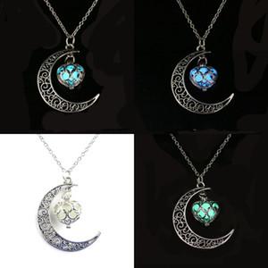 Croissant Dame Pendentif Collier Jewelry Moon Love Coeur en forme de coeur Femmes Colliers Plaqué Or Fashion Chain 3 2LX J2B