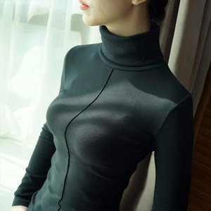 T shirts Women Turtleneck Long Sleeve 98% Cotton Spring Autumn Basic T Shirt Female Tops Plus Size Harajuku High Quality Tshirts