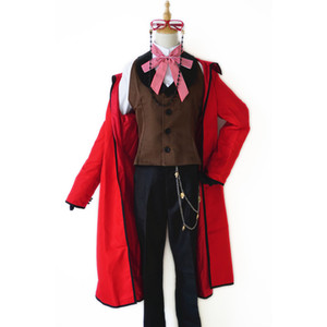 Anime Black Butler Death Shinigami Grell Sutcliff Cosplay Red Uniform Outfit+Glasses Carnaval Halloween Costumes for Women Custom Any Size