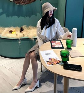 Fall 2020 the new Korean edition of fashion leather pointed shallow high-heeled shoes simple commuter thin thick single-heeled shoes woman