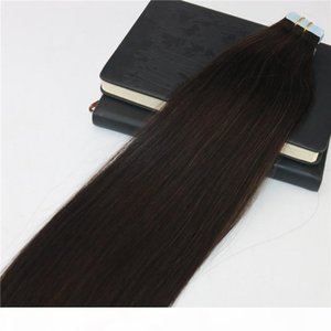 Double Drawn Tape in Human Hair Extensions #2 Darkest Brown Skin Weft Remy Virgin Tape on Hair Extensions Salon Professional PU Tape ins
