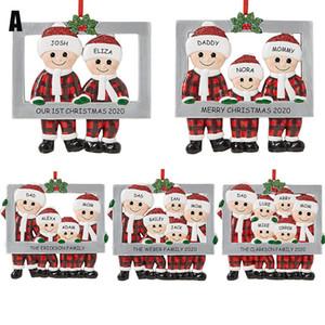 Neuer 8-Stil Weihnachtsbaum 2020 Snowman Elch Weihnachtsmann fünfzackigen Stern Anhänger hängendes Stück Dekoration Weihnachtsdekoration hängen