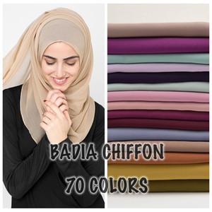10 pçs / lote de alta qualidade mulheres muçulmanos chiffon lenço islâmico georgette cachecol xales headwear longos envoltórios sólidos chiffon hijabs 201026