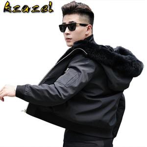 Azazel Winter Real Natural Fur Coat Men Fur Collar Hood Male Jacket Short Mens Parka High Quality AE18001 KJ812