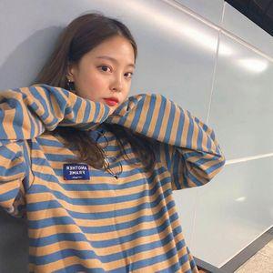 YouGeMan Moda con capucha ropa de la mujer coreana otoño Ulzzang Harajuku de rayas de manga larga con capucha sudaderas con capucha Mujer tapas ocasionales 201017