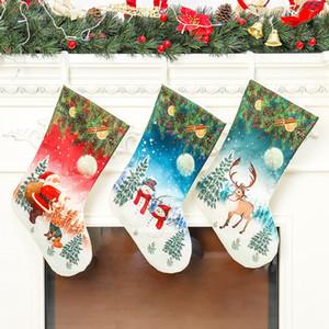 Bas de Noël Santa Snowman Noël Bas suspendu Porte-cadeaux de Noël Porte-cadeaux Enfants Candy Sac Arbre Décorations DDA638