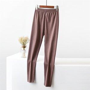 Leggings invernali delle signore Colore solido Thismal Medio Wasit Skinny Underwear femminile lungo Vestiti invernali Pantaloni spessi femminili