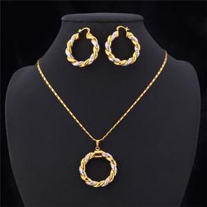 2015 Conjunto de colar de ouro de dois tons platina / 18k real banhado a ouro na moda colar de pingente de aro brincos mulheres conjunto de jóias 601 k2