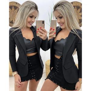 Sonbahar Kış Suit Blazer Kadınlar Yeni Casual Kruvaze Cep Kadın Uzun Ceketler Zarif Uzun Kollu Blazer Giyim # 31