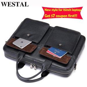 "Satchel Genuine Bag Leather Bandoulière WESTAL Bag Laptop 15.6"" Luxury Briefcase Document Sacoche For Men Tote Computer Male Qmhww"