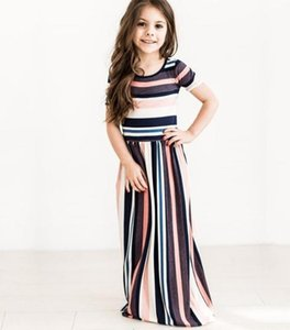 Style 2019 New Colour stripes printing Round collar Waist collection European style Girl Dress Spring and Autumn Period