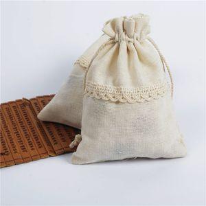 10 * 14 cm 13 * 18 cm Paño de algodón Bolsas de cordón de cordón de encaje Regalo de impresión de encaje Paquete de algodón bolsas bolsa de regalo regalos de boda bolsas de promoción de negocios