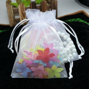 Emballage cadeau 500pcs Bijoux Bijoux de mariage Bijoux Bijoux en organza 7x9 9x12 10x15 11x16 13x18 15x20 17x23 20x30 25x35cm