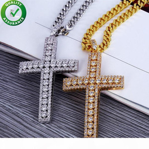 Hip Hop Jewelry Designer Necklace Iced Out Pendant Mens Cuban Link Chain Gold Diamond Cross Pendants Luxury Bling Charms Wedding Rapper Rock