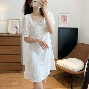 mRVYM Sweet little petite petite robe d'été formel manches bulle française texture col carré jacquard blanc robe taille haute pour les femmes 60