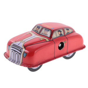 Red Classic Fire Car Tin Toy Collectible Clockwork Wind Up Toys for Kids