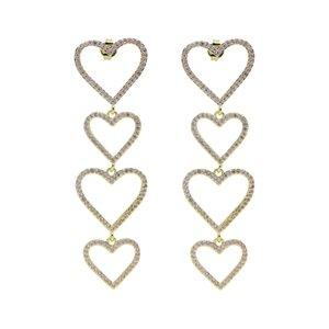 Blue Pink White 3 Colors Cubic Zirconia Hollow Heart Charm 4PCS Gold Colorful Heart Dangle Dangling Long Earring
