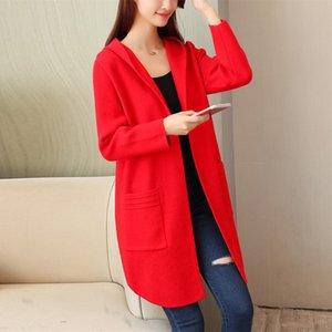 Novo camisola grande tamanho jaqueta feminina longa seção de malha cardigan solto coreano primavera outono casacos com capuz