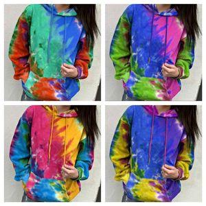 Women Sweater Pullover Designer Tie-dye Long Sleeve Hoodies Hooded Tops Jacket Coat Ladies's Autumn Winter Fashion Sweatershirt E1204083T55