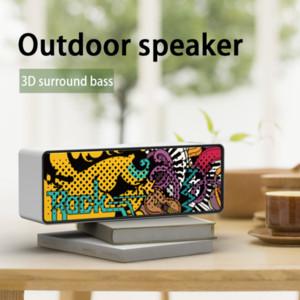 F2 Wireless Bluetooth Speaker Waterproof Portable Column Subwoofer Stereo 3D Digital Sound Speaker Outdoor Graffiti Soundbox