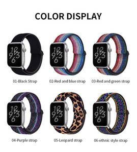Soft and comfortable nylon Loop elastic buckle Apple watch band 38mm 42mm Series 6 SE 5 4 3 2 1 For iWatch Strap Nylon braid 44mm 40mm