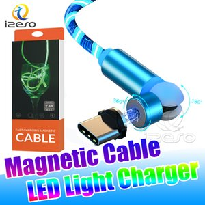 Type C USB Cable LED Glow Flowing Fast Charging Line 3 in 1 Magnetic USB Cable High Speed Charger with Retail Package izeso