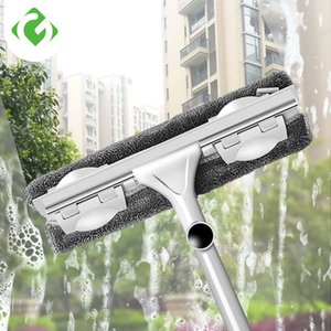 GUANYAO Long Handle cleaning brush Window Cleaner Glass Squeegee Telescopic rod rotating head With cleaning cloth Rubber wiper CJ191227