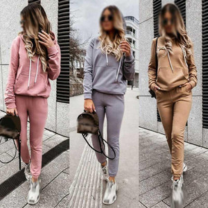 Ladies Loungewear Tracksuits Set Lounge Hoodies Top Suit Pants Wear Women 2PCS1